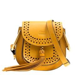 Chloe Mustard Laser Cut Leather Mini Hudson Shoulder Bag