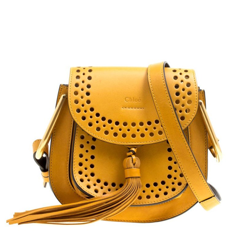 e9ea27722a8 Chloe Mustard Laser Cut Leather Mini Hudson Shoulder Bag For Sale at ...