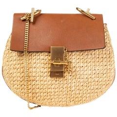 CHLOE Natural RAFFIA & leather DREW SMALL Shoulder Bag