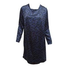 Chloe Navy Blue & Black Printed Silk Shift Dress