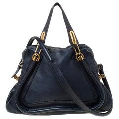 Chloe Navy Blue Leather Medium Paraty Shoulder Bag
