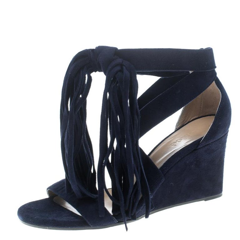 615e5b5a5f9 Chloe Navy Blue Suede Cross Strap Fringe Tassel Detail Wedge Sandals Size  36 For Sale