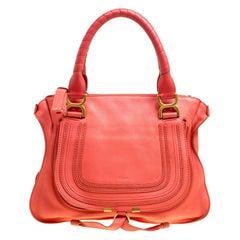 Chloe Neon Orange Leather Medium Marcie Satchel