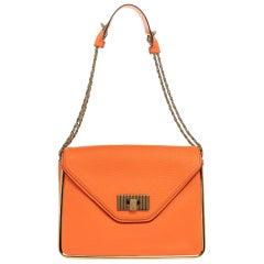 Chloe Neon Orange Leather Medium Sally Flap Shoulder Bag