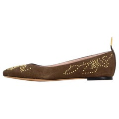 Chloe New Taupe Suede Anatolia Studded Ballet Flats sz 38 rt $645