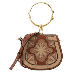 Chloe Nile Patchwork Crossbody Bag Studded Leather with Suede Small