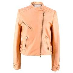 Chloe Nude Leather Biker Jacket - Size US 4
