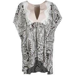 Chloe Off White Printed Silk Lace Insert Ruffled Kaftan Top L
