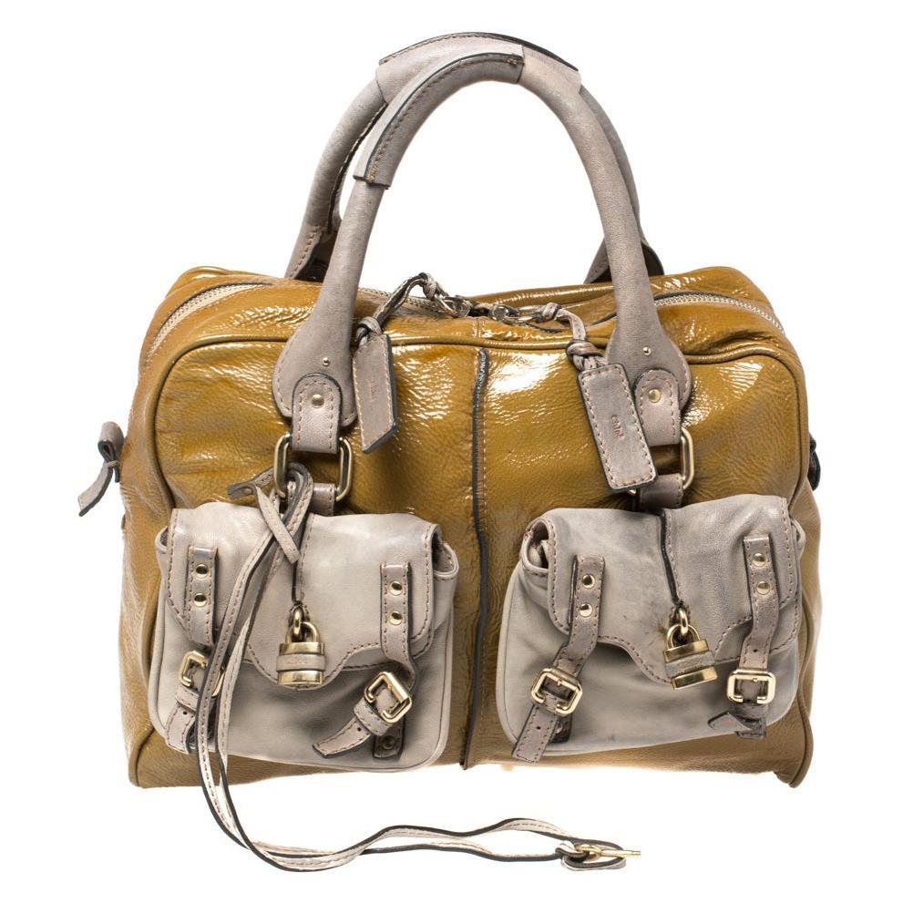 Chloe Olive Green/Grey Patent And Leather Double Pocket Paddington Satchel