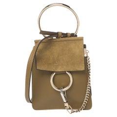 Chloe Olive Green Leather and Suede Mini Faye Crossbody Bag