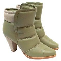 Chloe Olive Green Runway Ankle Boots - Size EU 37