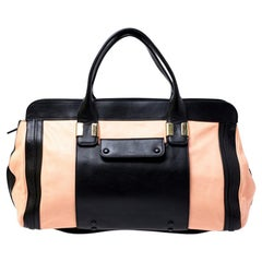 Chloe Orange/Black Leather Large Alice Satchel