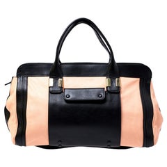 Chloe Orange/Black Leather Large Alice Satchel