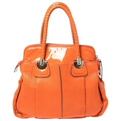 Chloe Orange Quilted Patent Leather Large Heloise Satchel