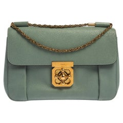 Chloe Pale Green Leather Medium Elsie Shoulder Bag