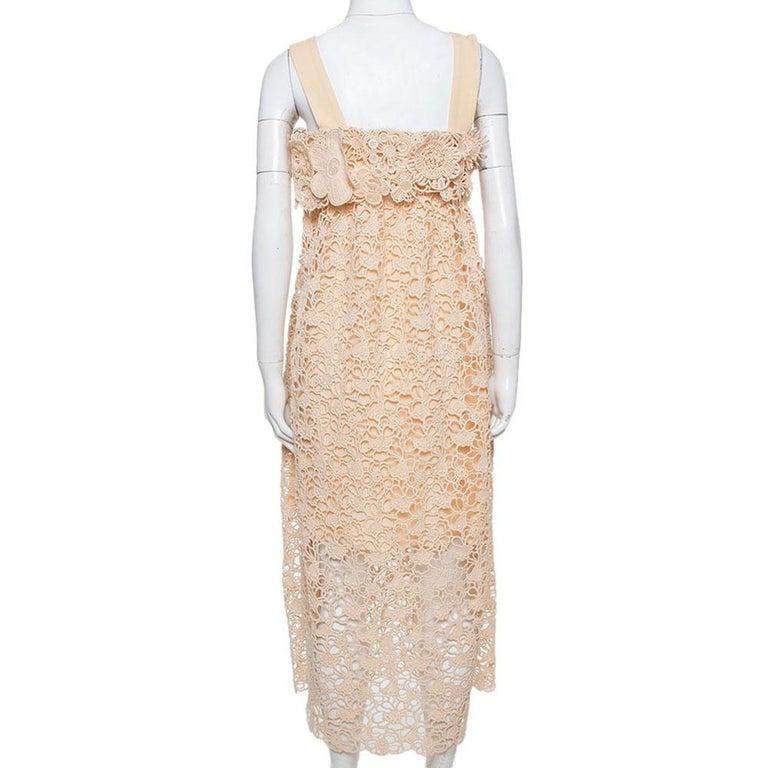White Chloe Pale Orange Floral Lace Empire Waist Midi Dress S For Sale