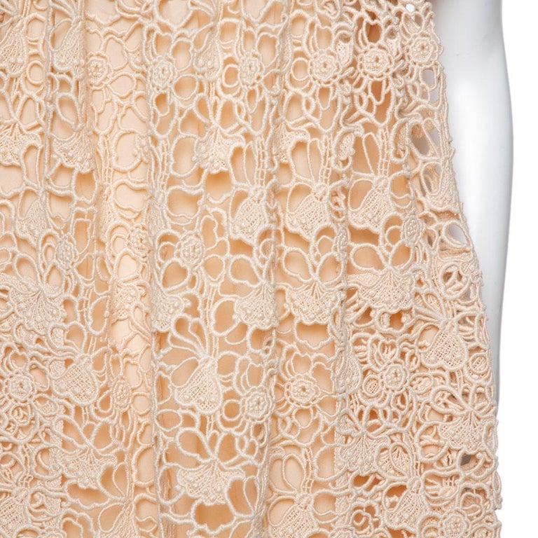 Chloe Pale Orange Floral Lace Empire Waist Midi Dress S In Good Condition For Sale In Dubai, Al Qouz 2