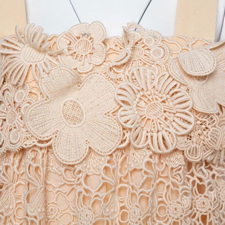 Women's Chloe Pale Orange Floral Lace Empire Waist Midi Dress S For Sale