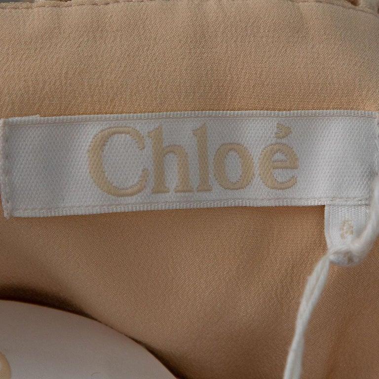 Chloe Pale Orange Floral Lace Empire Waist Midi Dress S For Sale 1