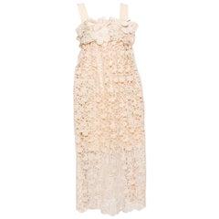 Chloe Pale Orange Floral Lace Empire Waist Midi Dress S