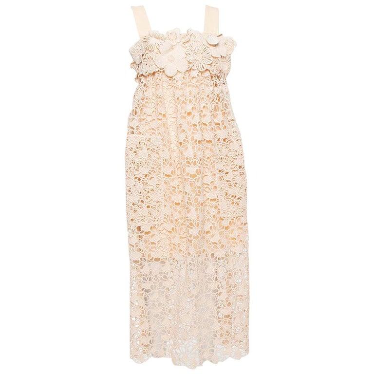 Chloe Pale Orange Floral Lace Empire Waist Midi Dress S For Sale