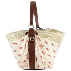 Chloe Panier Bucket Bag Straw and Printed Polyester Medium