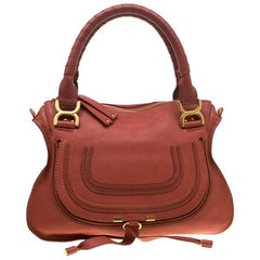 Chloe Pastel Red Leather Medium Marcie Satchel