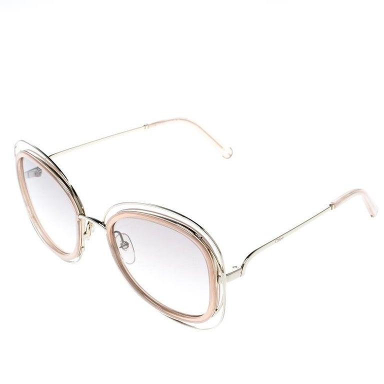 7b42ae8b654e Beige Chloe Peach Brown Gradient CE123S Carlina Oversized Square Sunglasses  For Sale