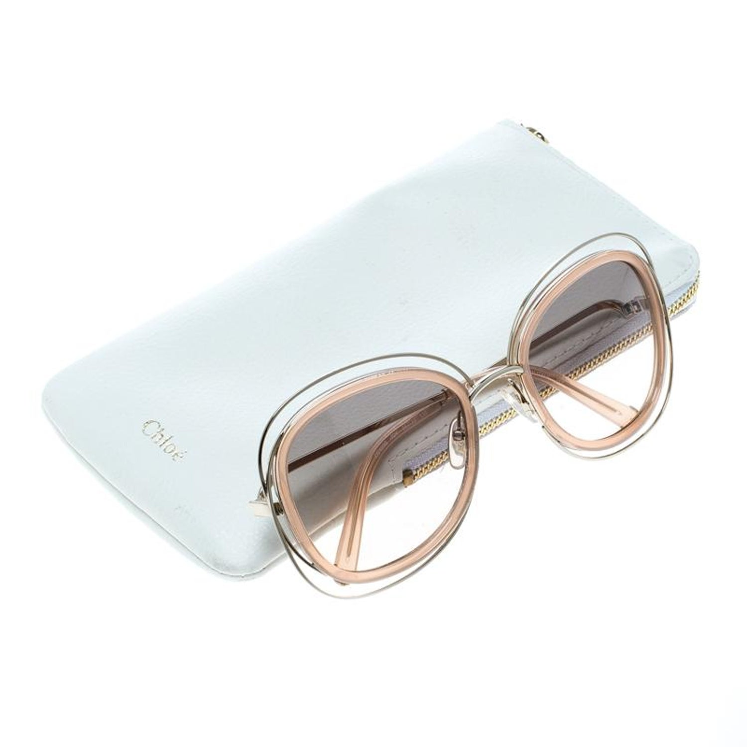 ddb6aee115f0 Chloe Peach Brown Gradient CE123S Carlina Oversized Square Sunglasses For  Sale at 1stdibs