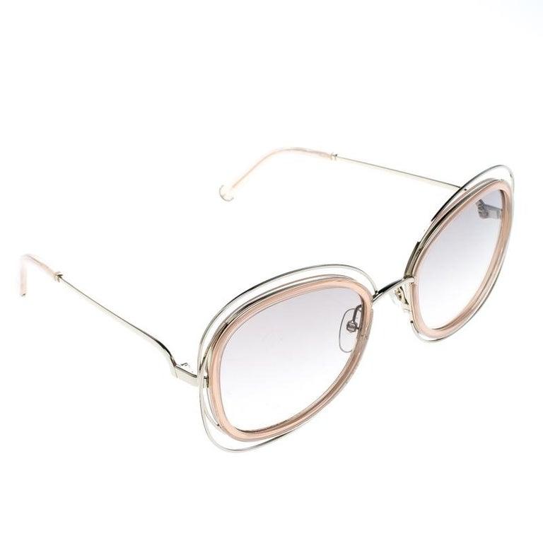 161e1b0f5c0e Chloe Peach Brown Gradient CE123S Carlina Oversized Square Sunglasses For  Sale