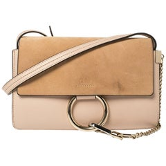 Chloe Peach Leather and Suede Faye Shoulder Bag