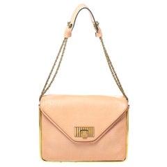 Chloe Peach Leather Medium Sally Shoulder Bag