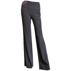 Chloe Pearl Embellished Waist Brown Pants