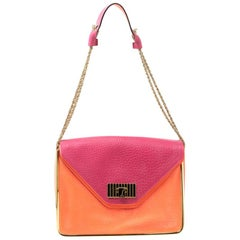 Chloe Pink/Coral Orange Leather Medium Sally Flap Shoulder Bag