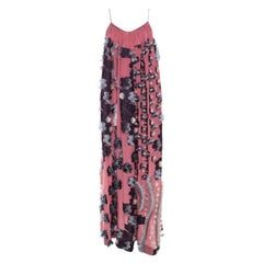Chloe Pink Silk Chiffon Feather Applique Embellished Maxi Dress M