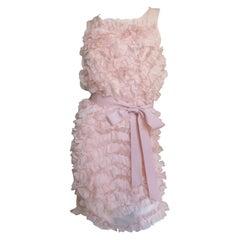 Chloe Pink Silk Ruffle Dress