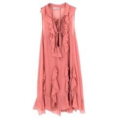Chloe Pink Silk Ruffled Midi Dress - Size US 0-2