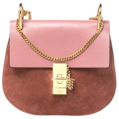 Chloe Pink Suede And Leather Drew Crossbody Bag