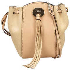 Chloe Pink Suede Leather Drawstring Bag