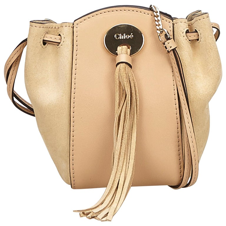 650c8de427a3 Chloe Pink Suede Leather Drawstring Bag For Sale at 1stdibs