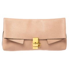 Chloe Powder Pink Grained Leather Drew Fold Over Clutch