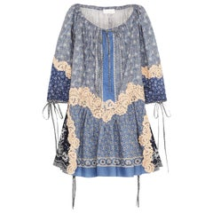 Chloé Printed Lace Appliquéd Cotton and Silk Blend Voile Mini Dress