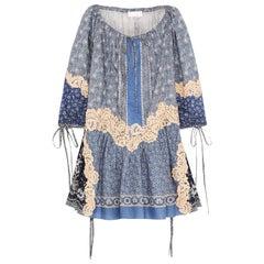 Chloé Printed Lace Appliquéd Cotton and Silk Blend Voile Mini Dress