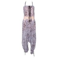 Chloe Purple & Brown Floral Print Crepe Jumpsuit S