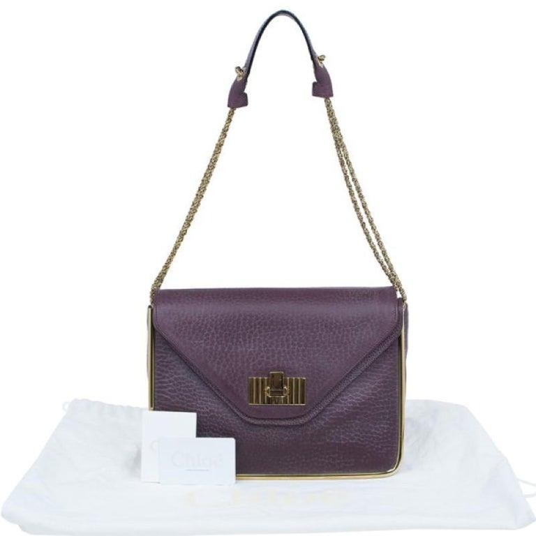Chloe Purple Leather Medium Sally Crossbody Bag For Sale 5