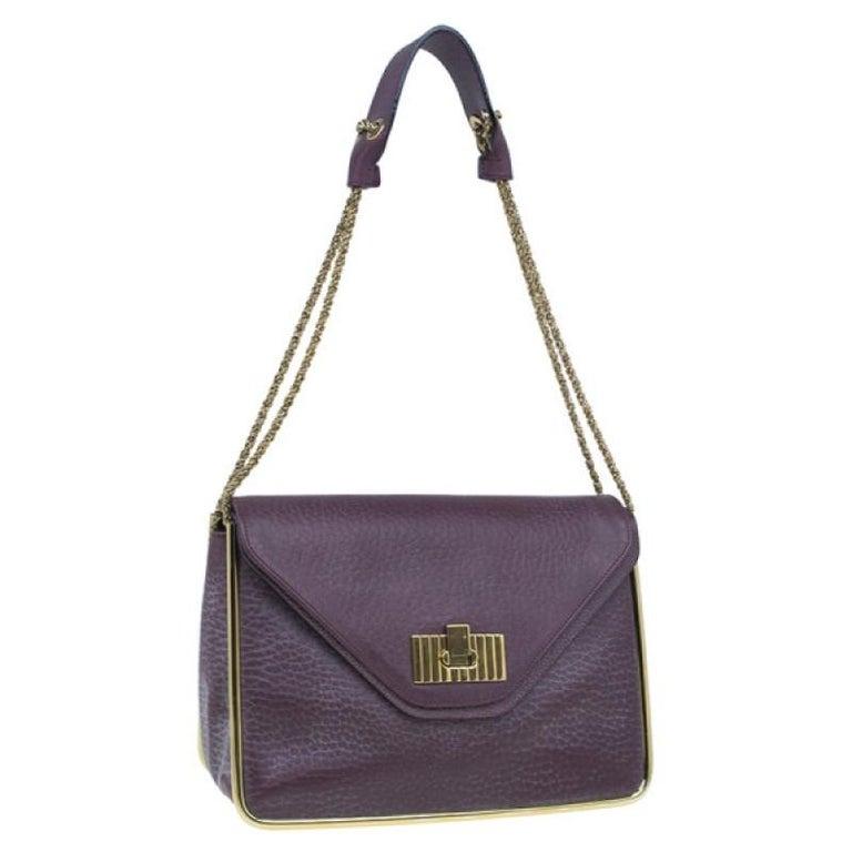 Gray Chloe Purple Leather Medium Sally Crossbody Bag For Sale