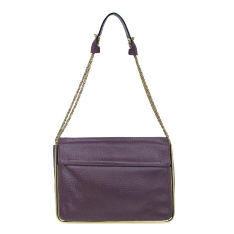 Chloe Purple Leather Medium Sally Crossbody Bag In Excellent Condition For Sale In Dubai, AE