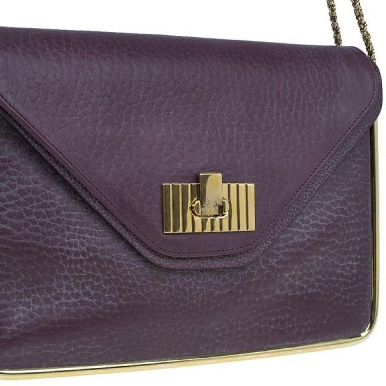 Chloe Purple Leather Medium Sally Crossbody Bag For Sale 1