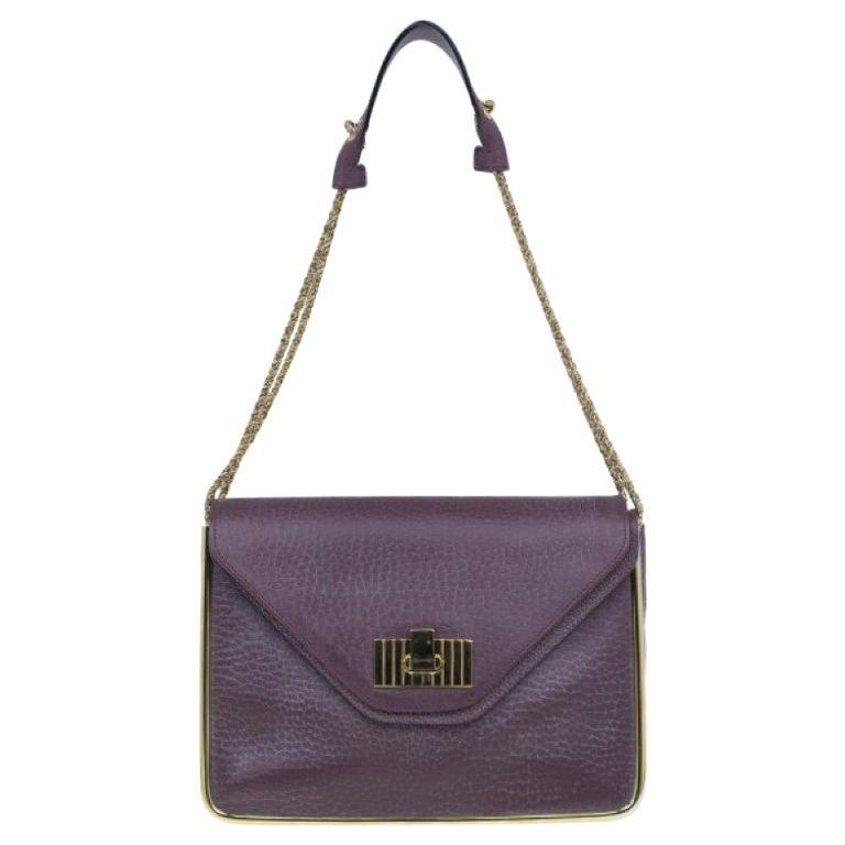 Chloe Purple Leather Medium Sally Crossbody Bag For Sale