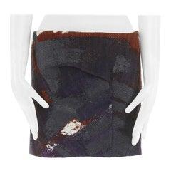 "CHLOE purple red abstract black rubberized wool tweed mini skirt FR36 31"" S"